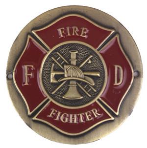 Fire Fighter Brass Medallion