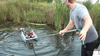 Powerful heavy duty lake pond weed cutter for cutting thick rooted aquatic plants like cattails, bull rush, reeds, lily pads and even thick wood stemmed