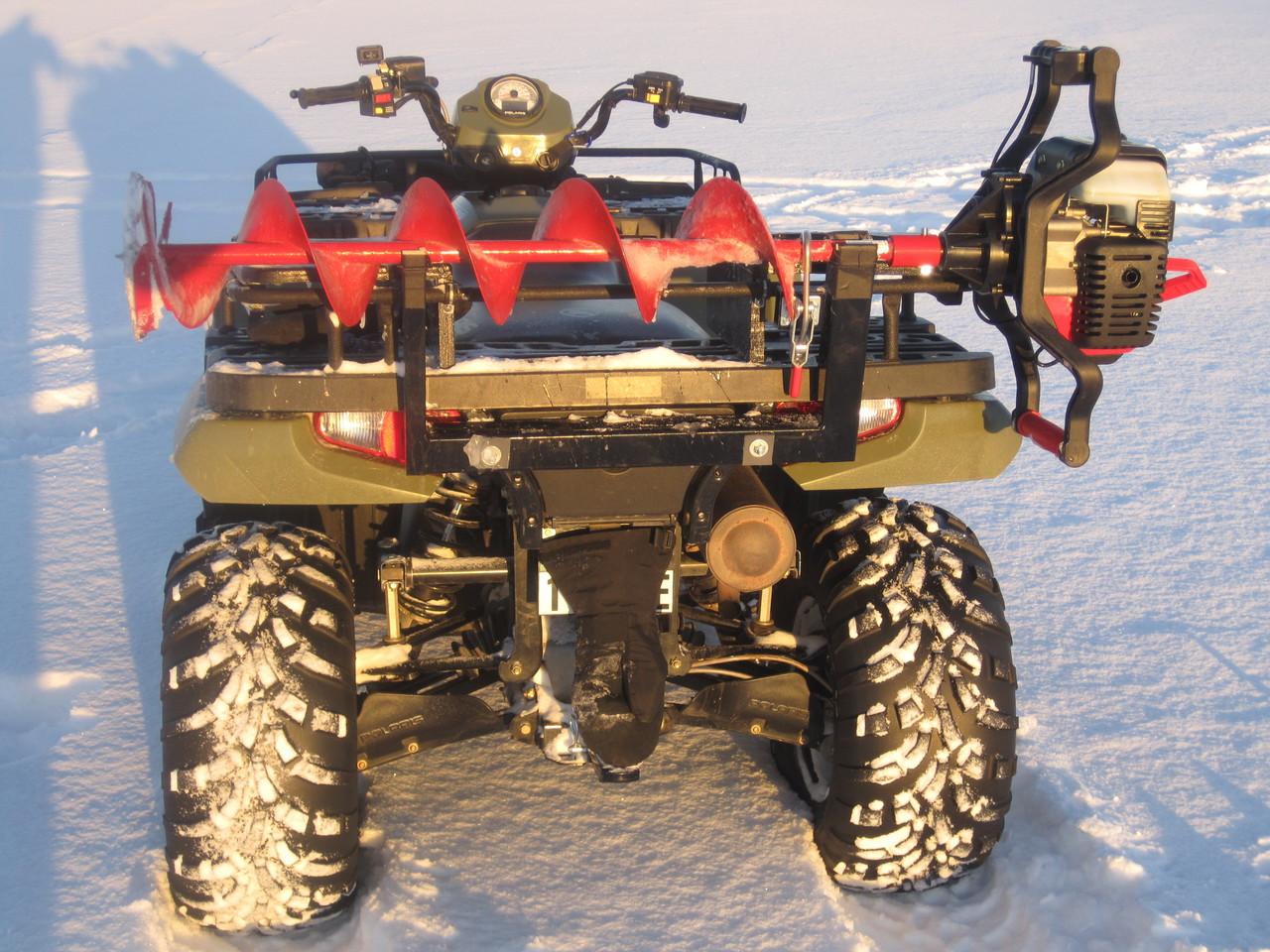 Ice Auger Carrier for snowmobile -  jiffy, eskimo, nils master strikemaster