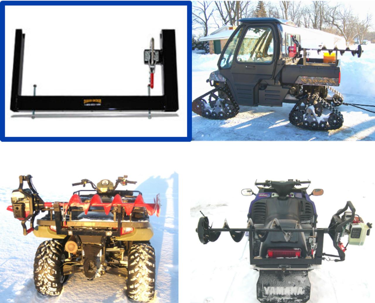 Digger anchor ice auger mount rack carrier fourwheeler utv snowmobile