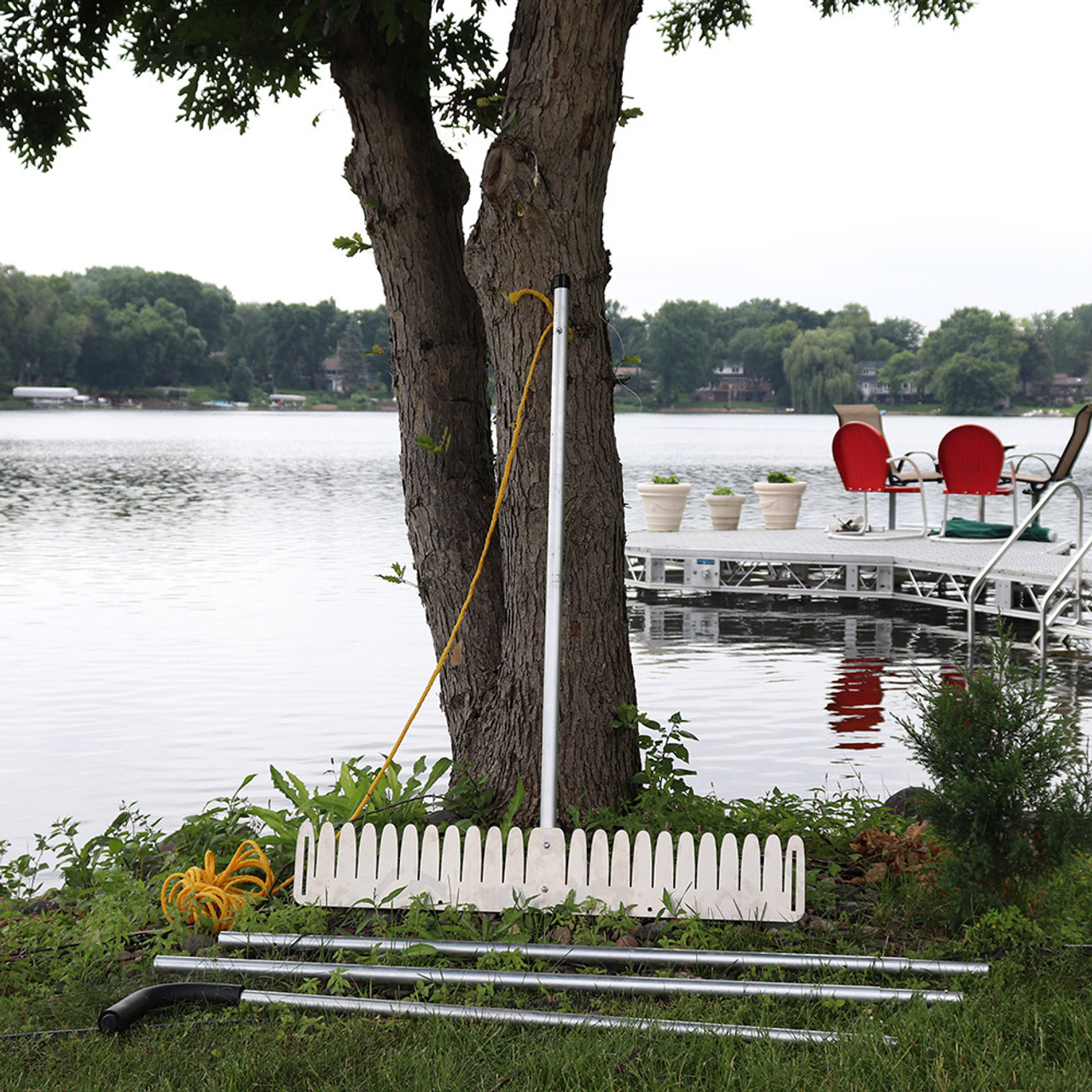 Tool for cutting and pulling weeds in lake