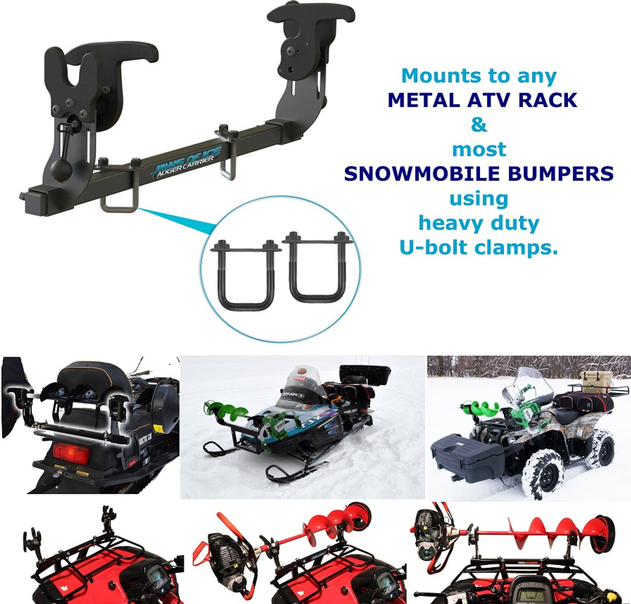 Mount for ice auger that works with metal atv rack