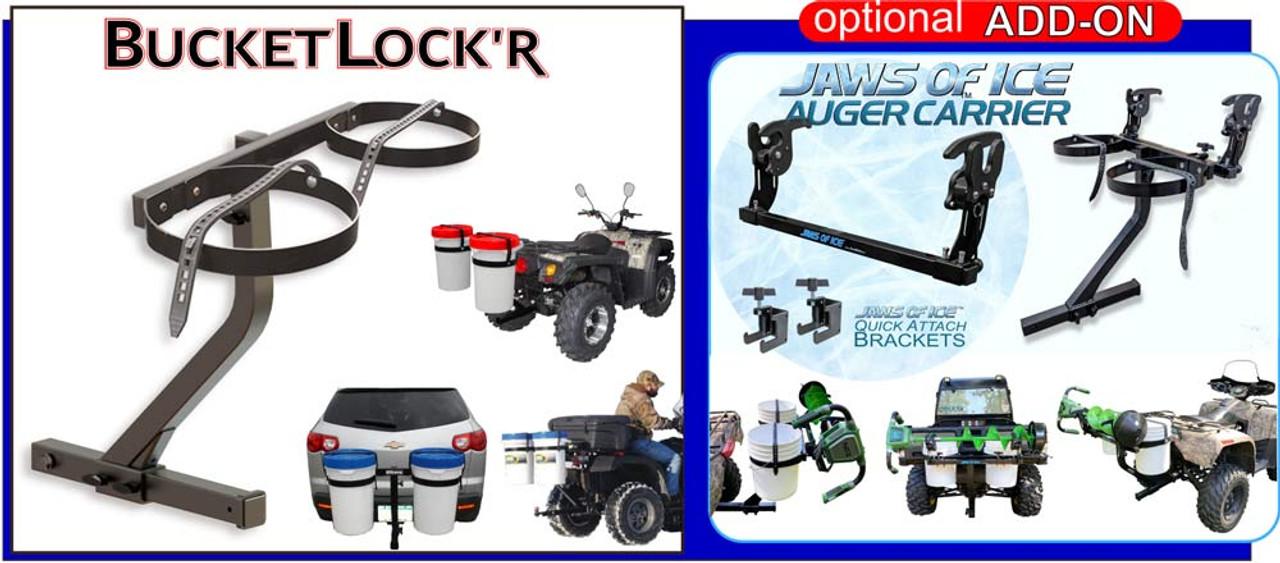 ATV & UTV Bucket Carrier   Receiver Hitch Mount  Dual Bucket Holder
