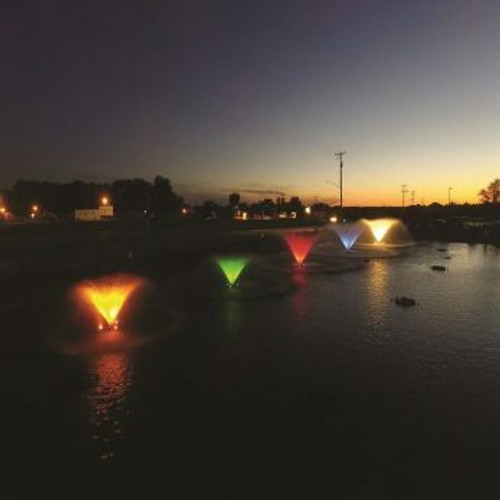 Lighted Fountains | Kasco VFX Floating Lake & Pond Aerating  Fountains with LED Lights