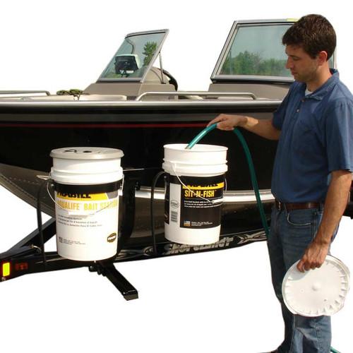 Boat Trailer Bucket Carrier Side Mounted Bait Pail Holder