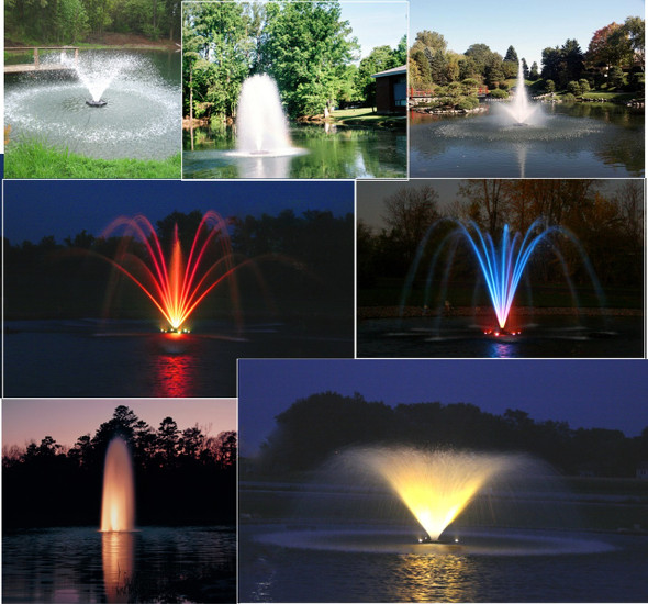 Kasco Marine Floating Pond Lake Fountains with lights lighting LED colorful lights for fountain