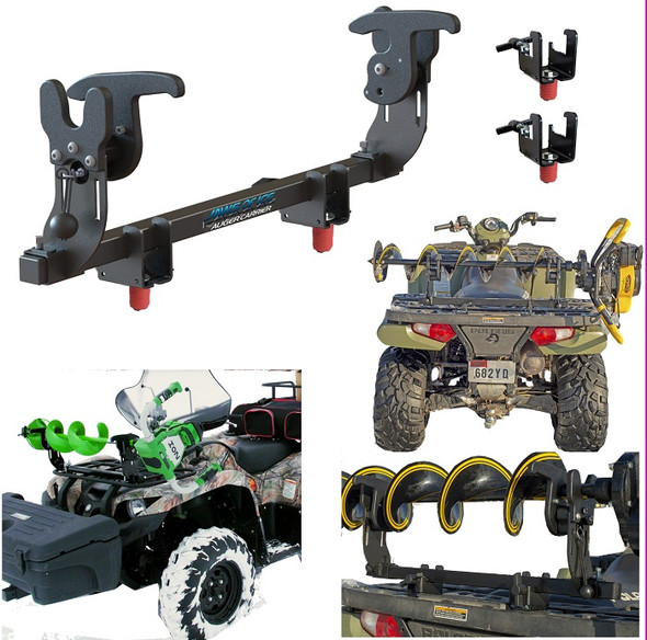 Ice auger rack carrier for  polaris fourwheeler atv