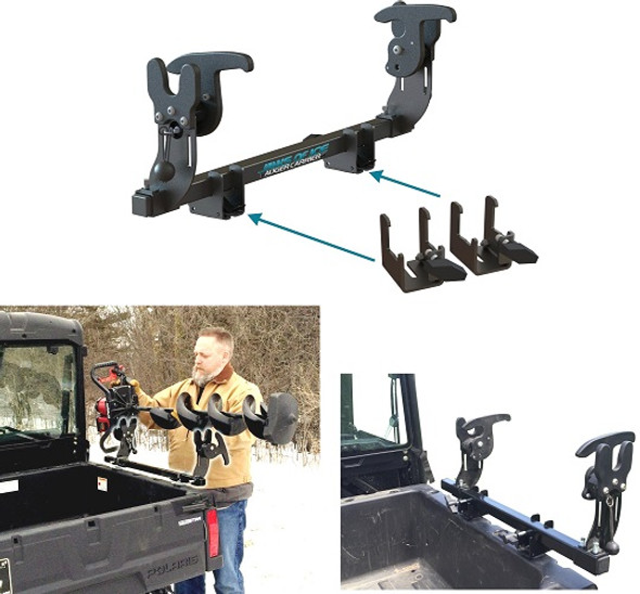 Ice auger rack carrier for polaris ranger UTV