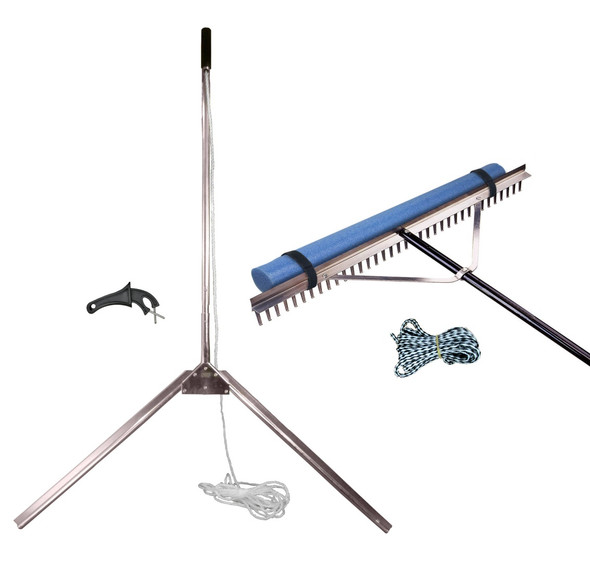 Weed shear lake weed cutter and rake beach cleaning kit