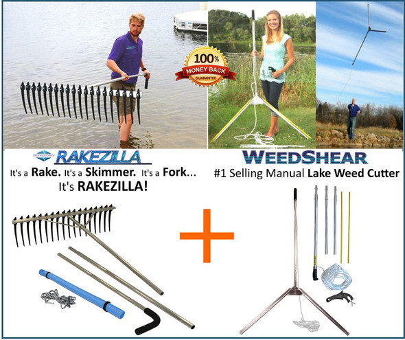 Lake Weed Cleanup Kit | Weed Cutter | Rake Zilla Lake Rake