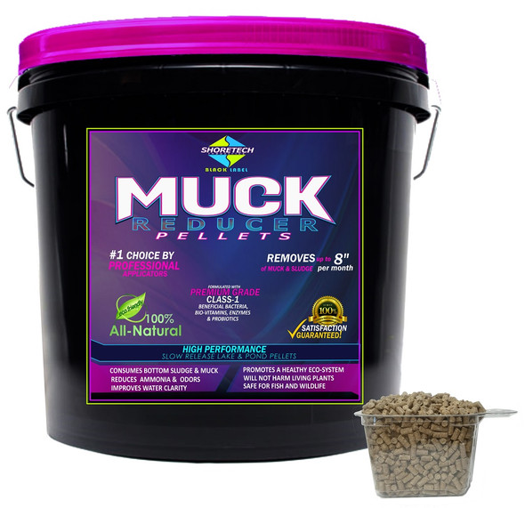 Shore Tech Industries professional grade Muck Digester Pellets formulated with class-1 beneficial bacteria enzymes to get rid of and reduce sludge, silt, and mud on your lake or pond beach bottom Amazon
