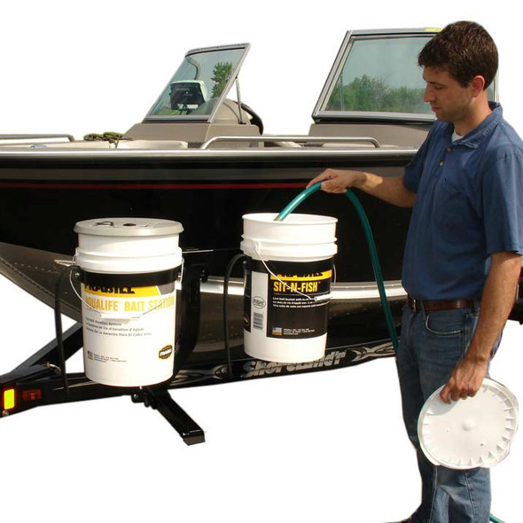 Boat Trailer Bucket Carrier Side Mounted Bait Pail Holder