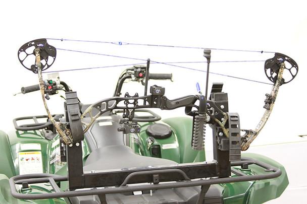 Compound bow rack mount holder for ATV rack