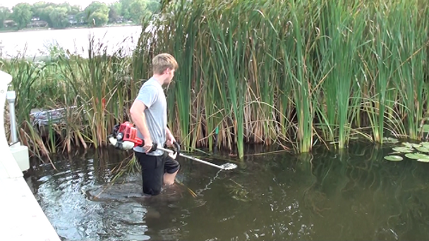 gas powered cattail lily pad pond lake weed cutter