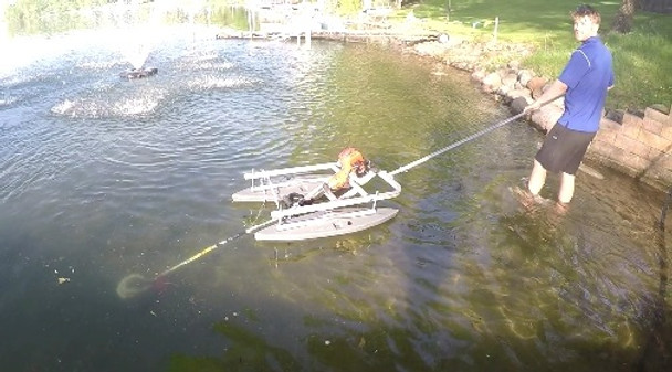 Float mount for lake and pond weed cutting machine