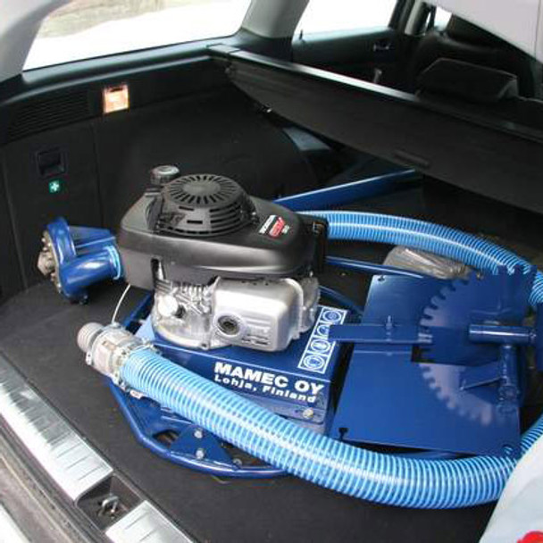 Dredge Assembly in a vehicle trunk