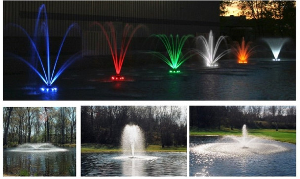 Kasco Marine Floating JFL Pond Lake Fountains with lights lighting LED colorful lights for fountain