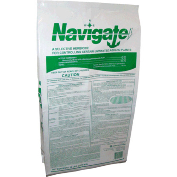 Navigate is an aquatic granular formulation of 2, 4-D. A granular aquatic herbicide, which selectively controls some of the most troublesome aquatic plants. These include water milfoil, coontail, and spatterdock. Gradual release and systemic action ensures complete kill of the entire plant.  50 lb. bag