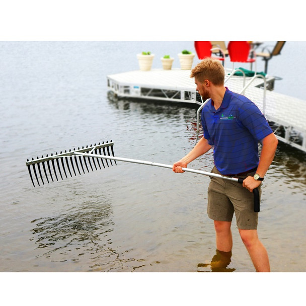 Large Rake with Big Long Tines Teeth for Raking Lake & Pond Weeds And Cleaning Aquatic Seaweed