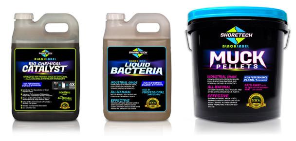 3-in-1 Pond Muck Reducer Kit | Pellets, Clarifier, Catalyst | Black Pack