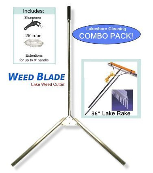 The perfect combination to get rid of your weeds. Our number one long reach rake to cut seaweed in a lake/pond/ beach