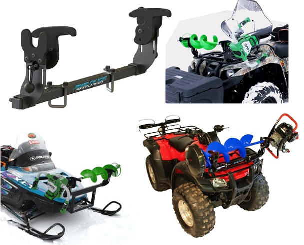 Ice auger rack carrier for fourwheeler atv