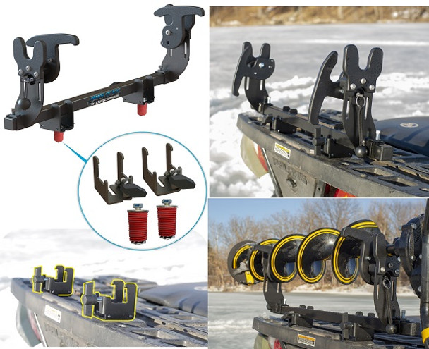Ice auger rack carrier for fourwheeler atv lock & ride