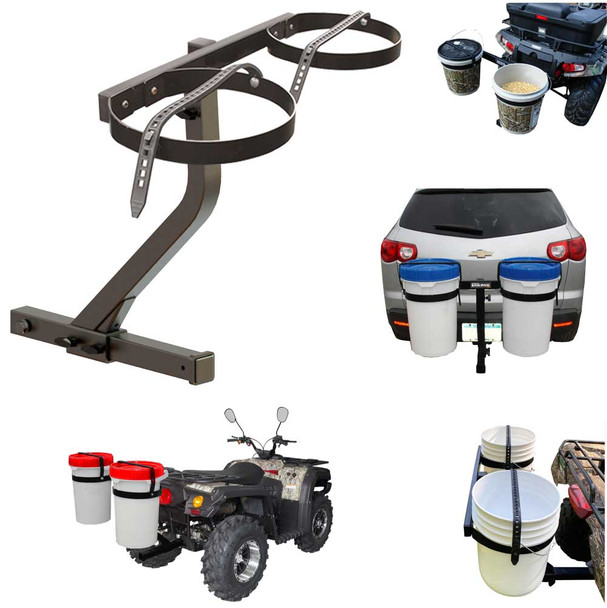 Bucket Holder for 5 gallon pails that attaches to receiver hitch of vehicle