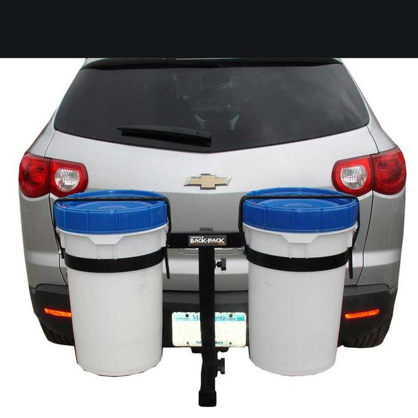 Bucket carrier for ATV's & UTV's | Receiver Hitch Mount| Dual Bucket Holder