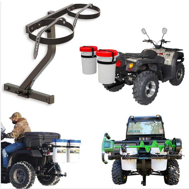 Ice Fishing Bucket Holder + Ice Auger Carrier | Mounts to Hitch on ATV UTV and more!
