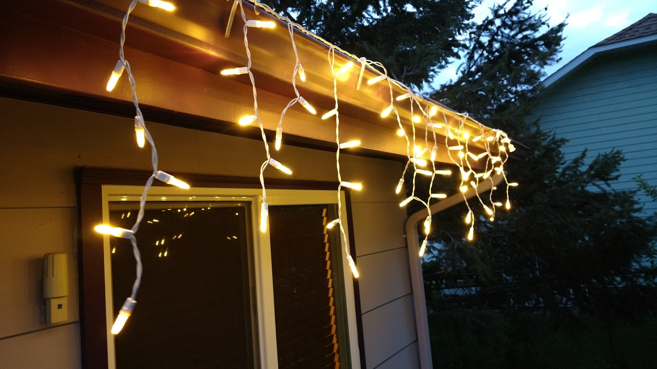 Warm White Led M5 Christmas Icicle Light Set White Wire 100ledm5ice Www