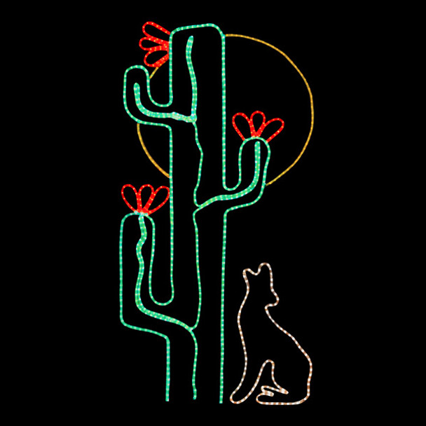 6' x 3' LED SAGUARO CACTUS WITH COYOTE & MOON - 102MOL716