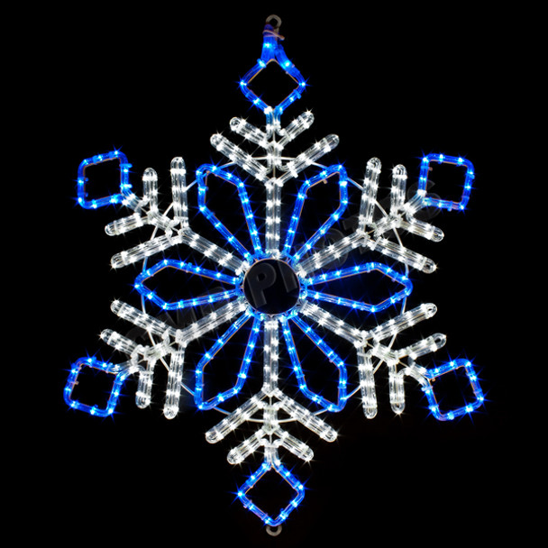 "32"" BLUE & WHITE LED ROPE LIGHT SNOWFLAKE MOTIF SILHOUETTE DISPLAY - 100MOLS48"