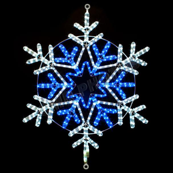 "31"" BLUE & WHITE LED ROPE LIGHT SNOWFLAKE MOTIF SILHOUETTE DISPLAY - 100MOLS39"