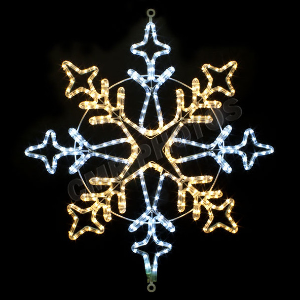 "30"" WHITE & WARM WHITE LED ROPE LIGHT SNOWFLAKE MOTIF SILHOUETTE DISPLAY - 100MOLS38"