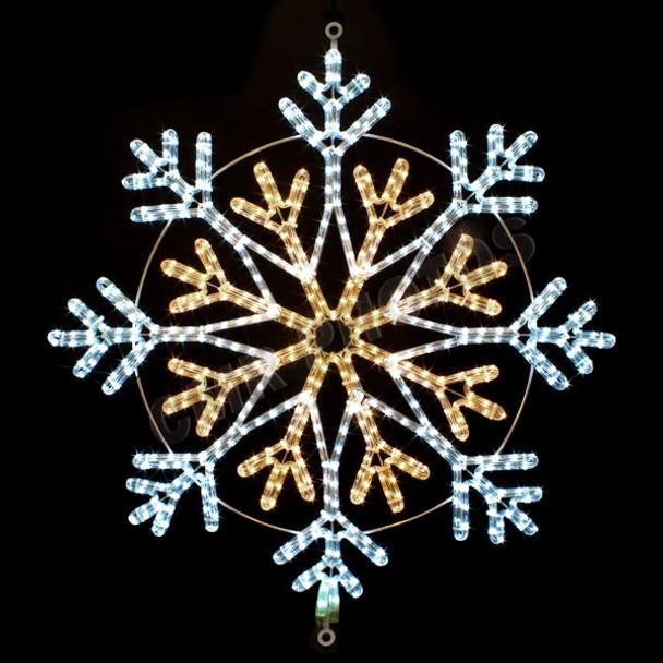 "34"" WHITE & WARM WHITE LED ROPE LIGHT SNOWFLAKE MOTIF SILHOUETTE DISPLAY - 100MOLS36"