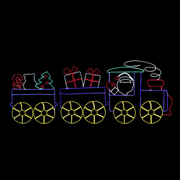 LED SANTA'S TOY TRAIN ROPE LIGHT MOTIF SILHOUETTE DISPLAY
