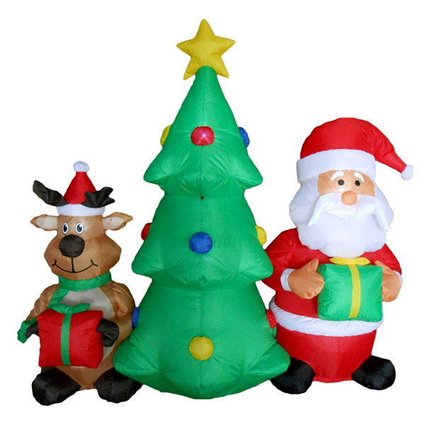 Christmas Tree with Santa and Reindeer Inflatable - 5ft Tall