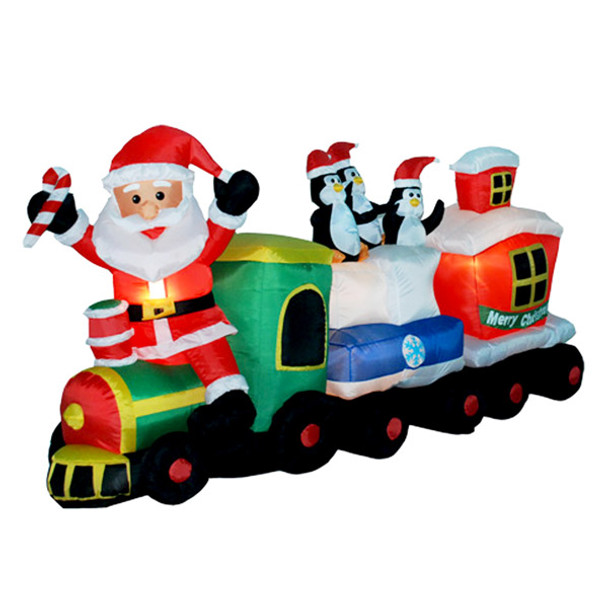 7ft Long Santa Train with Penguins - Inflatable