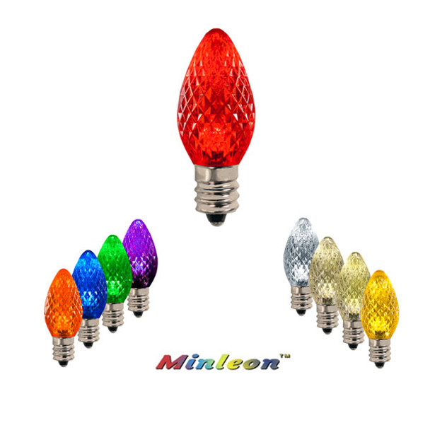 Minleon SMD C7 E12 Retrofit Faceted Christmas Bulbs Color Options