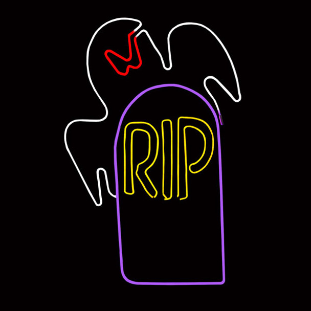 Standing Neon Ghost and Tombstone