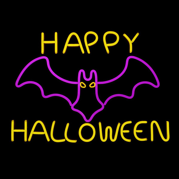 LED NEON Happy Halloween with Bat Display