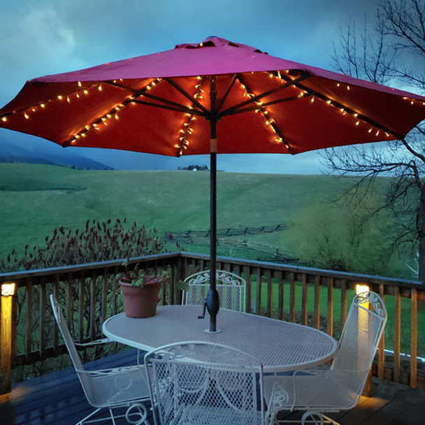 LED Solar Powered Umbrella Decorative Lights - In Use