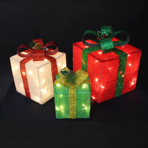 3D Set of Three LED Gift Boxes