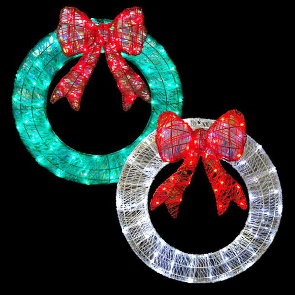 LED 3D Mirrored Wreath Window Silhouette Motif Display