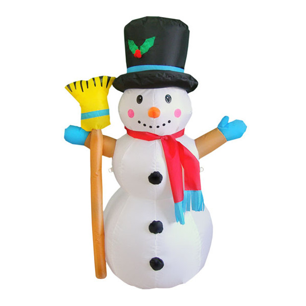 4ft Happy Snowman with Broom Inflatable