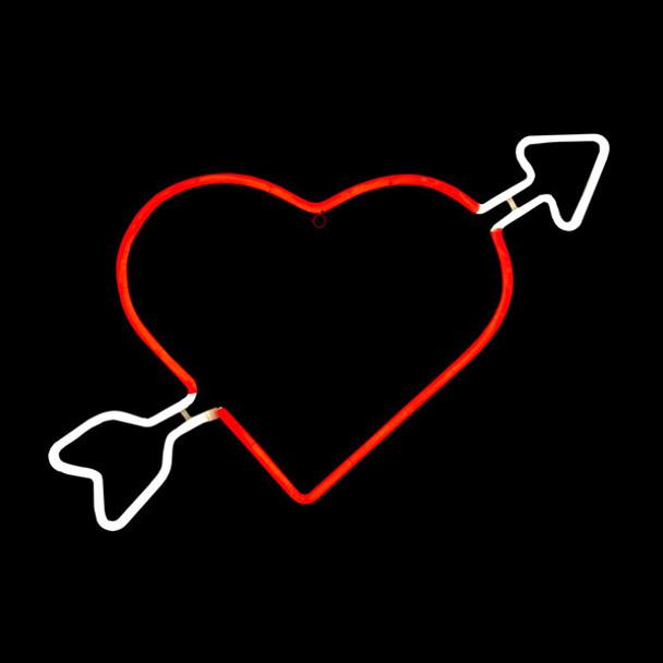 Neon Heart with Cupids Arrow