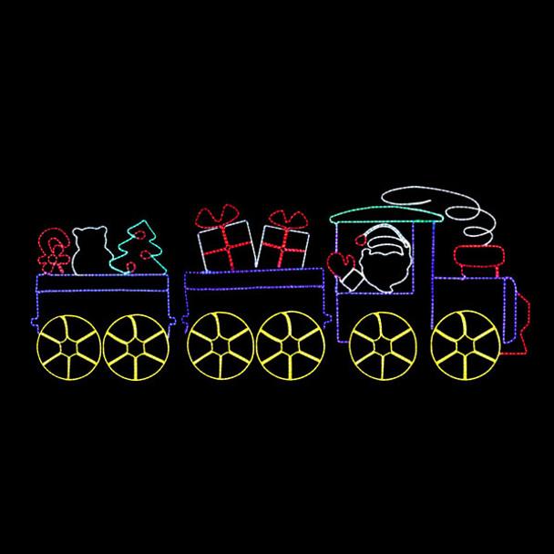 LED SANTA'S TOY TRAIN ROPE LIGHT MOTIF SILHOUETTE DISPLAY