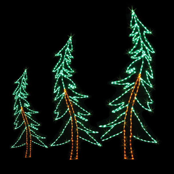 Swaying  LED Pine Tree Silhouette Yard Display - Size Options