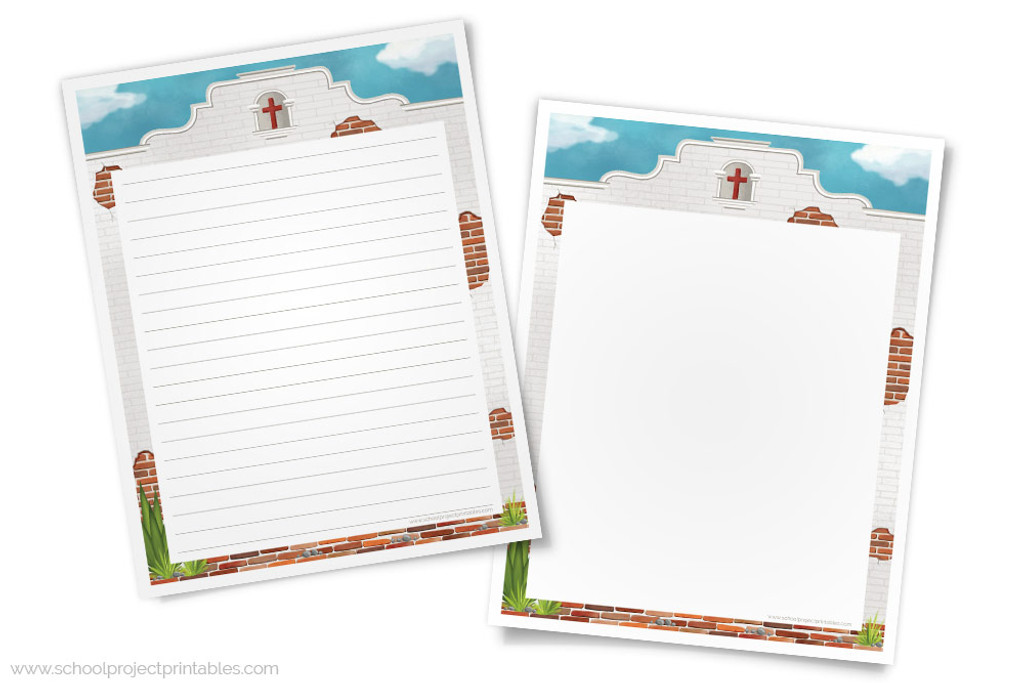 graphic regarding Free Printable Bulletin Board Borders Template known as California Missions Creating Template - Paper with Adobe Mission Border